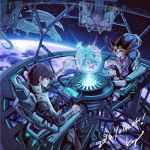 2010 3boys belt blonde_hair blue-eyes_white_dragon blue_eyes brown_hair collared_shirt dark_magician dragon dress_shirt duel_monster earth holding hologram holographic_monitor kaiba_mokuba kaiba_seto long_sleeves male_focus multicolored_hair multiple_boys mutou_yuugi necktie orbit planet playing_games purple_shirt screen shirt short_hair signature sitting sky smile space spiky_hair star_(sky) starry_sky takahashi_kazuki vest violet_eyes yu-gi-oh! yuu-gi-ou_duel_monsters