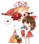 2girls bangs bell blonde_hair blush bow brown_hair christmas_ornaments closed_eyes detached_sleeves eyebrows_visible_through_hair flying_sweatdrops gap gift hair_bow hair_tubes hakurei_reimu hat hat_ribbon heart holding holding_gift holly long_sleeves merry_christmas mob_cap multiple_girls red_bow red_ribbon red_skirt ribbon sack santa_hat simple_background skirt skirt_set socks spoken_heart standing star sweat touhou useq1067 white_background white_hat white_legwear yakumo_yukari