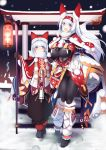 1boy 1girl blush bodysuit bodysuit_under_clothes breasts christmas fox fox_tail gloves hat highres large_breasts long_hair looking_at_viewer night open_mouth original outdoors red_eyes scarf silver_hair snow snowing standing sukage tail torii
