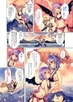 2girls bare_arms bare_shoulders bat_wings bikini black_bikini blue_eyes blue_hair blush breasts cleavage clouds comic commentary_request day eye_contact flower hair_flower hair_ornament hand_on_own_chest heart highres izayoi_sakuya kirero lake looking_at_another maid_headdress medium_breasts midriff misty_lake multiple_girls no_hat no_headwear open_mouth parted_lips pointy_ears red_eyes red_flower remilia_scarlet sarong short_hair sideboob silver_hair sky small_breasts smile swimsuit touhou translation_request umbrella water wings yuri