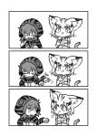 2girls 3koma afterimage animal_ears bare_shoulders bow bowtie breath cat_ears cat_tail closed_eyes comic eating elbow_gloves eye_contact eyebrows_visible_through_hair food food_on_face gloves greyscale hair_between_eyes highres hood hood_up hoodie kemono_friends kotobuki_(tiny_life) legs_together long_sleeves looking_at_another monochrome multiple_girls neck_ribbon ribbon sand_cat_(kemono_friends) short_hair silent_comic simple_background squatting striped tail tsuchinoko_(kemono_friends) white_background