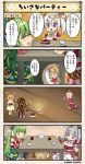 4koma cake candle chocolate_cake comic commentary_request cookie cup flower_knight_girl food green_hair iberis_(flower_knight_girl) mint_(flower_knight_girl) multiple_girls tagme translation_request violet_eyes white_hair