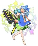 2girls anklet antennae arm_up bangs bare_legs barefoot blue_bow blue_dress blue_eyes blue_hair bow butterfly_wings cirno closed_eyes commentary_request dress eternity_larva green_dress hair_bow hair_ornament jewelry leaf_hair_ornament multiple_girls no_wings puffy_short_sleeves puffy_sleeves short_dress short_hair short_sleeves smile tanned_cirno tansan_daisuki touhou white_background wings