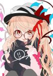 1girl alternate_costume alternate_headwear bespectacled black_jacket blonde_hair bow fedora flandre_scarlet glasses gotoh510 hair_ribbon hat hat_bow hood hooded_jacket jacket long_sleeves looking_at_viewer pointy_ears red-framed_eyewear red_bow red_eyes red_ribbon ribbon side_ponytail simple_background smiley_face star tongue tongue_out touhou watch white_background wings