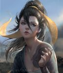 1girl black_eyes black_hair chuby_mi cigarette day facebook_username hair_between_eyes hanzo_(overwatch) highres holding holding_cigarette lips long_hair nose overwatch parted_lips ponytail smoke smoking solo sunlight watermark web_address
