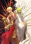 2boys abs androgynous armor boots cape chains closed_mouth commentary_request enkidu_(fate/strange_fake) enkidu_(weapon) fate/grand_order fate_(series) faulds fist_bump gilgamesh greaves green_hair grin halberd highres knee_up lack lance long_hair long_sleeves looking_at_another male_focus multiple_boys navel polearm red_cape red_eyes robe shirtless sitting smile spear tattoo waist_cape weapon yellow_eyes