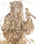 1girl bird bird_on_hand capelet chains commentary_request dark_skin hand_up headdress holding holding_sword holding_weapon light_smile lips long_hair long_sleeves monochrome oollnoxlloo original puffy_long_sleeves puffy_sleeves scabbard sepia sheath sketch solo spot_color sword tassel upper_body weapon yellow_eyes