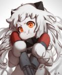 1girl :i blurry blurry_background child closed_mouth commentary_request depth_of_field dress grey_background kantai_collection long_hair looking_at_viewer mittens northern_ocean_hime orange_eyes pout shinkaisei-kan signature solo standing torpedo upper_body very_long_hair waterkuma white_dress white_hair