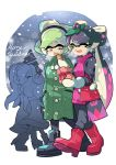 4girls aori_(splatoon) christmas christmas_tree coat cousins domino_mask earmuffs english full_body highres hime_(splatoon) hotaru_(splatoon) iida_(splatoon) mask merry_christmas multiple_girls pointy_ears snow speech_bubble splatoon splatoon_2 sweater tentacle_hair text turtleneck turtleneck_sweater walking winter_clothes wong_ying_chee
