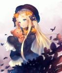 1girl abigail_williams_(fate/grand_order) bangs black_bow black_dress black_hat blonde_hair blue_eyes bow butterfly commentary_request deecha dress fate/grand_order fate_(series) forehead hair_bow hat long_hair long_sleeves looking_away object_hug orange_bow parted_bangs parted_lips polka_dot polka_dot_bow signature sleeves_past_wrists solo stuffed_animal stuffed_toy teddy_bear very_long_hair