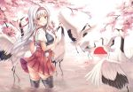 1girl bird black_legwear blush brown_eyes cherry_blossoms crane_(animal) hakama hakama_skirt headband japanese_clothes kantai_collection long_hair muneate open_mouth petals petals_on_water red_hakama red_headband short_sleeves shoukaku_(kantai_collection) solo tasuki thigh-highs vashaps2 water white_background