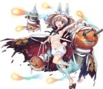 1girl :d aixioo animal_ears arched_back arm_up armpits azur_lane bandage bandaged_arm bandaged_feet bandaged_hands bandaged_head bandaged_leg bandaged_neck bangs bird black_cape bloomers blue_ribbon blunt_bangs blush_stickers brooch bunny_tail cape cherry_blossoms chick eyebrows eyebrows_visible_through_hair facing_away fang flat_chest floral_print frills full_body ghost_tail halloween halloween_costume index_finger_raised jack-o'-lantern jewelry kagerou_(azur_lane) leg_up light_brown_hair looking_at_viewer magatama midriff navel official_art open_mouth palms pumpkin pumpkin_juice rabbit_ears red_pupils ribbon ribbon-trimmed_bloomers ribbon_trim robot sarashi short_hair sidelocks simple_background slit_pupils smile solo spirit standing standing_on_one_leg stomach tabi tachi-e tail torn_cape torn_clothes transparent_background tsurime turret twintails underwear violet_eyes white_bloomers