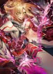1girl angry armor armored_dress bandeau blonde_hair braid breasts clarent clenched_teeth commentary_request energy fate/apocrypha fate_(series) french_braid gauntlets glowing green_eyes hair_ornament hair_scrunchie highres holding holding_sword holding_weapon kodama_(wa-ka-me) long_hair looking_at_viewer medium_breasts midriff mordred_(fate) mordred_(fate)_(all) navel pauldrons ponytail scrunchie shiny shiny_hair skirt solo sword teeth toned weapon