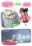 3girls aori_(splatoon) bed bedroom book christmas coat comic cousins domino_mask english ghost highres hotaru_(splatoon) inkling mask merry_christmas multiple_girls pillow pointy_ears sleeping speech_bubble splatoon splatoon_2 tentacle_hair text winter_clothes wong_ying_chee