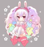 1girl :o animal_ears azur_lane bangs bare_shoulders big_hair bird blush bow candy candy_wrapper character_name chick eyebrows_visible_through_hair food hair_between_eyes hair_bow hair_ornament hair_scrunchie hairband jacket laffey_(azur_lane) lollipop long_hair long_sleeves looking_at_viewer off_shoulder panties parted_lips pink_bow pink_jacket pocopoco polka_dot polka_dot_bow rabbit rabbit_ears red_bow red_eyes red_hairband red_scrunchie scrunchie sleeves_past_wrists solo star striped striped_panties swirl_lollipop thigh-highs twintails underwear unmoving_pattern very_long_hair white_legwear