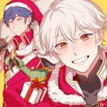 2boys blue_hair blush cape christmas fire_emblem fire_emblem:_kakusei fire_emblem_heroes gloves highres krom looking_at_viewer male_focus male_my_unit_(fire_emblem:_kakusei) multiple_boys my_unit_(fire_emblem:_kakusei) robe santa_costume short_hair simple_background smile tecchi_kun white_background white_hair