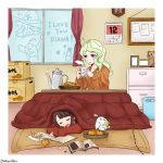 3girls bird calendar clock commentary_request diana_cavendish doll drowsy english food fruit kagari_atsuko kotatsu little_witch_academia mandarin_orange multiple_girls raisun shiny_chariot sleeping stuffed_animal stuffed_toy table teddy_bear