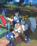 1boy alola_form alolan_exeggutor backpack bag baseball_cap black_hair blue_footwear blue_sky closed_mouth cutiefly fence grass grey_eyes hand_up hat hat_removed headwear_removed highres lycanroc outdoors pants pikipek pippi_(pixiv_1922055) pokemon pokemon_(creature) pokemon_(game) pokemon_sm popplio power_lines rotom_dex shirt shoes short_sleeves sitting sky smile you_(pokemon_sm)