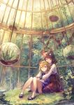 2girls birdcage black_footwear blonde_hair blouse blue_eyes brown_eyes brown_hair brown_legwear brown_skirt bush cage closed_mouth commentary_request grass head_wreath high-waist_skirt highres hug hug_from_behind in_cage knees_together_feet_apart kobutakurassyu long_sleeves multiple_girls original pantyhose plant potted_plant shoes short_hair sitting skirt socks white_legwear