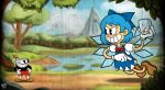 1boy 1girl 30s andro_juniarto angry black_eyes blue_hair blue_ribbon brown_shoes cirno crossover cup cuphead cuphead_(game) deviantart dress frog frozen gloves grin holding_ice ice ice_wings neck_ribbon short_hair touhou wings