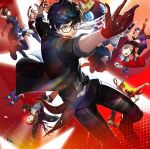 3boys 6+girls amamiya_ren belt black_eyes black_hair blonde_hair blue_eyes boots brown_eyes cap caroline_(persona_5) crown eyepatch fingerless_gloves garter_straps glasses gloves hat headphones headphones_around_neck highres justine_(persona_5) kitagawa_yuusuke morgana_(persona_5) multiple_boys multiple_girls niijima_makoto official_art okumura_haru orange_hair persona persona_5 persona_5:_dancing_star_night red_eyes sakamoto_ryuuji sakura_futaba scarf school_uniform skirt smile soejima_shigenori takamaki_anne violet_eyes