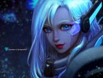 1girl artist_name ashe_(league_of_legends) blue blue_eyes closed_mouth commentary commission david_pan eyelashes headset league_of_legends light_blue_hair lips long_hair nose portrait red_lips