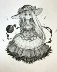 1girl alternate_costume arms_at_sides bow breasts closed_mouth dress flower grey_background greyscale hat hat_bow hat_flower highres komeiji_koishi long_hair looking_at_viewer mashimashi medium_breasts monochrome rose scan smile solo third_eye touhou traditional_media