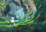 1boy animal_ears black_pants fantasy flower furry grass green_eyes grey_hair long_sleeves moss original pants pippi_(pixiv_1922055) river roots scenery shirt solo standing tail water waterfall white_shirt
