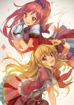 2girls aikatsu! blonde_hair bow brown_eyes frilled_skirt frills gloves hair_bow hair_ornament hair_ribbon hairband hoshimiya_ichigo idol lm7_(op-center) long_hair looking_at_viewer multiple_girls open_mouth otoshiro_seira ponytail red_eyes redhead ribbon signature sketch skirt smile sparkle star_(sky)