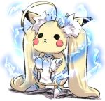 :< absurdly_long_hair ahoge azur_lane blonde_hair commentary_request cosplay detached_sleeves eldridge_(azur_lane) eldridge_(azur_lane)_(cosplay) electricity full_body hair_ornament long_hair long_sleeves pikachu pokemon pokemon_(creature) solid_circle_eyes solo standing thigh-highs twintails u-non_(annon'an) very_long_hair white_background white_legwear