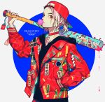 1girl akiakane backwards_hat baseball_bat baseball_cap black_shirt blonde_hair blood blood_splatter bubble_blowing choker closed_mouth commentary hand_up hat holding holding_weapon jacket jewelry long_sleeves looking_at_viewer nail nail_bat necklace open_clothes open_jacket original over_shoulder ponytail red_choker red_eyes red_jacket shirt solo spikes standing upper_body watermark weapon weapon_over_shoulder web_address