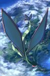 above_clouds closed_eyes clouds day flygon flying full_body highres no_humans outdoors pippi_(pixiv_1922055) pokemon pokemon_(creature) scenery solo valley wings