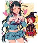 2girls :d animal_ears bangs bell bell_choker black_cape black_hair black_hat black_jacket black_pants black_ribbon blue_shirt blue_skirt blush bow breasts buttons cape cat_paws cat_tail chabashira_tenko character_name choker closed_eyes danganronpa eyebrows_visible_through_hair facing_viewer fake_animal_ears gloves hair_bow hairband hat highres huyandere jacket kemonomimi_mode layered_skirt long_hair long_sleeves looking_at_viewer medium_breasts midriff multicolored multicolored_cape multicolored_clothes multiple_girls navel neck_ribbon new_danganronpa_v3 open_eyes open_mouth orange_cape pants paw_gloves paw_pose paws pink_choker pink_eyes pleated_skirt red_skirt redhead ribbon round_teeth school_uniform serafuku shirt short_hair silk skirt smile spider_web standing suit_jacket tail tail_bell teeth twintails two-tone_cape very_long_hair white_bow white_gloves white_hairband white_sailor_collar white_tail witch_hat yumeno_himiko