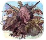anjanath barroth blue_eyes chibi claws closed_mouth diablos dragon elsass full_body fur great_jagras horns jyuratodus looking_at_viewer looking_to_the_side monster_hunter monster_hunter:_world no_humans nostrils open_mouth rathalos red_eyes scales sharp_teeth slit_pupils teeth wyvern yellow_eyes