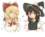 2girls :o ;) blonde_hair blouse bow braid breasts brown_eyes brown_hair buttons collared_shirt cosplay costume_switch detached_sleeves frilled_shirt_collar frills hair_bow hair_ribbon hair_tubes hakurei_reimu half_updo hat kirisame_marisa large_bow long_sleeves looking_at_viewer medium_hair messy_hair mini_necktie multiple_girls necktie one_eye_closed ovo puffy_short_sleeves puffy_sleeves ribbon ribbon-trimmed_sleeves ribbon_trim shirt short_sleeves side_braid single_braid small_breasts smile star straight_hair touhou vest wavy_hair wide_sleeves witch_hat yellow_eyes yin_yang