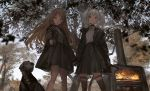 2girls aiming_at_viewer baton black_gloves black_jacket blue_sky blurry blurry_foreground brown_eyes brown_hair closed_mouth contrapposto depth_of_field dog fire from_below furnace gloves gun handgun highres holding holding_gun holding_hand holding_weapon jacket legs_apart lm7_(op-center) long_hair long_sleeves looking_at_viewer multiple_girls open_clothes open_jacket original outdoors pistol silver_hair sky smile standing thigh-highs tree twintails violet_eyes weapon
