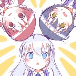 >:o 3girls :o bangs black_hair blue_eyes blue_neckwear blue_vest blush bow bowtie chestnut_mouth chimame-tai collared_shirt eyebrows_visible_through_hair gochuumon_wa_usagi_desu_ka? hair_between_eyes hair_ornament hair_scrunchie hetareeji highres jouga_maya kafuu_chino light_blue_hair long_hair matching_outfit multiple_girls natsu_megumi open_mouth pink_vest portrait purple_neckwear purple_vest rabbit_house_uniform red_neckwear redhead scrunchie shirt short_hair sketch two-tone_background vest wavy_mouth white_scrunchie white_shirt wing_collar yellow_eyes