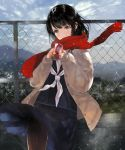 1girl absurdres black_hair blue_eyes blush can crying drink highres hitaki_yuu original outdoors rooftop scarf school_uniform sky snow solo tears thigh-highs winter