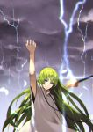 1boy 55level bangs blue_eyes chains clouds cloudy_sky enkidu_(fate/strange_fake) enkidu_(weapon) eyebrows_visible_through_hair fate/strange_fake fate_(series) green_hair hand_up highres lightning long_hair long_sleeves looking_at_viewer male_focus robe sky solo white_robe