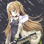 1girl ahoge assault_rifle bangs black_gloves blush bow breasts brown_hair bullpup choker closed_mouth collarbone dog_tags double_bun dress earrings expressionless eyebrows_visible_through_hair fingerless_gloves floating_hair fur-trimmed_jacket fur_trim girls_frontline gloves green_eyes gun hair_bow heavy_breathing holding holding_gun holding_weapon jacket jewelry kel-tec kel-tec_rfb long_hair looking_at_viewer medium_breasts multiple_earrings necklace off_shoulder rfb_(girls_frontline) rifle smile snow snow_on_body snow_on_head solo vils weapon wind wind_lift
