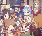 6+girls ;d aioi_yuuko black_cat black_eyes candy cat character_request drinking food halloween halloween_costume hat indoors jack-o'-lantern kotatsu m.mikasa minakami_mai multiple_girls naganohara_mio nichijou one_eye_closed open_mouth poster_(object) professor_shinonome sakamoto_(nichijou) scarf school_uniform shinonome_nano smile table tokisadame_school_uniform witch witch_hat
