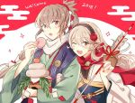 1boy 1girl dinikee female_my_unit_(fire_emblem_if) fire_emblem fire_emblem_heroes fire_emblem_if food grey_hair headband japanese_clothes kimono long_hair mamkute my_unit_(fire_emblem_if) pointy_ears ponytail red_eyes smile takumi_(fire_emblem_if) very_long_hair white_hair