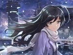 1girl ahoge airport artist_name bangs black_eyes black_hair breath girls_und_panzer isuzu_hana long_hair night night_sky purple_coat scarf shamakho sky smile snow solo upper_body white_scarf winter_clothes