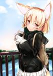 1girl animal_ears backpack bag blonde_hair blue_sky blush bridge brown_eyes clouds coat commentary_request day fennec_(kemono_friends) fox_ears fox_tail gloves highres holding kemono_friends kinou_no_shika looking_at_viewer outdoors river scarf skirt sky smile solo tail tree upper_body water white_gloves white_skirt winter_clothes winter_coat