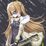 1girl ahoge assault_rifle bangs black_gloves blush bow breasts brown_hair bullpup choker closed_mouth collarbone dog_tags double_bun dress earrings expressionless eyebrows_visible_through_hair fingerless_gloves floating_hair fur-trimmed_jacket fur_trim girls_frontline glasses gloves green_eyes gun hair_bow heavy_breathing holding holding_gun holding_weapon jacket jewelry kel-tec kel-tec_rfb long_hair looking_at_viewer medium_breasts multiple_earrings necklace off_shoulder rfb_(girls_frontline) rifle semi-rimless_eyewear smile snow snow_on_body snow_on_head solo vils weapon wind wind_lift