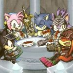 2girls 3boys amy_rose armor blaze_the_cat book chili_dog closed_eyes food green_eyes happy knight knuckles_the_echidna laughing lowres multiple_boys multiple_girls one_eye_closed reading shadow_the_hedgehog sitting smile sonic sonic_and_the_black_knight sonic_the_hedgehog sword weapon yellow_eyes