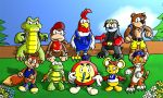 1girl 6+boys animal anthropomorphism backpack badger banjo-kazooie banjo_(banjo-kazooie) bear bird blue_shirt bumper_(rareware) cap chetrippo_(apook) clouds conker conker's_bad_fur_day conker_(series) crocodile crocodilian deviantart diddy_kong diddy_kong_racing donkey_kong_(series) dress drumstick_(rareware) flower gloves grass jacket krunch log microsoft monkey mouse nintendo no_humans object overalls pipsy rareware red_shirt rooster shorts sky squirrel star stopwatch t.t. tiger timber_(rareware) tiptup tree yellow_shorts