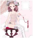 1girl bangs blue_eyes breasts brown_hair camisole chair chiune_(user_fukt3537) flower head_wreath highres lingerie long_hair looking_at_viewer mirror nail_polish original pantyhose parasol petals rose see-through sitting small_breasts smile solo string_panties thigh-highs umbrella underwear underwear_only white_legwear white_nails