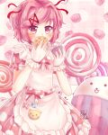 1girl angry blankcthulhu blush candy cat cookie cupcake doki_doki_literature_club dress flower lollipop looking_at_viewer maid_apron natsuki_(doki_doki_literature_club) no_mouth pink_eyes pink_hair polka_dot ribbon solo