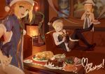 3girls :d ahoge artoria_pendragon_(all) bare_arms bare_shoulders black_bow black_footwear black_hat blonde_hair blue_dress blue_hat blurry boa_(brianoa) boots bow bowtie brown_legwear cake candle couch depth_of_field dress eating english eyebrows_visible_through_hair fate/grand_order fate_(series) fire fireplace food fur_trim gift green_eyes hair_bow hat high_heel_boots high_heels indoors looking_at_viewer merry_christmas multiple_girls open_mouth painting_(object) pantyhose plate ponytail puffy_short_sleeves puffy_sleeves reclining saber saber_alter saber_lily santa_alter santa_costume santa_hat short_dress short_hair short_sleeves sitting smile standing table thigh-highs thigh_boots truc_bui white_hat yellow_eyes